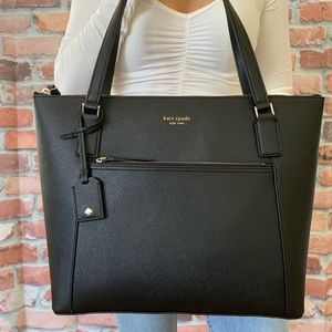 Kate spade LARGE Cameron pocket tote BLACK leather